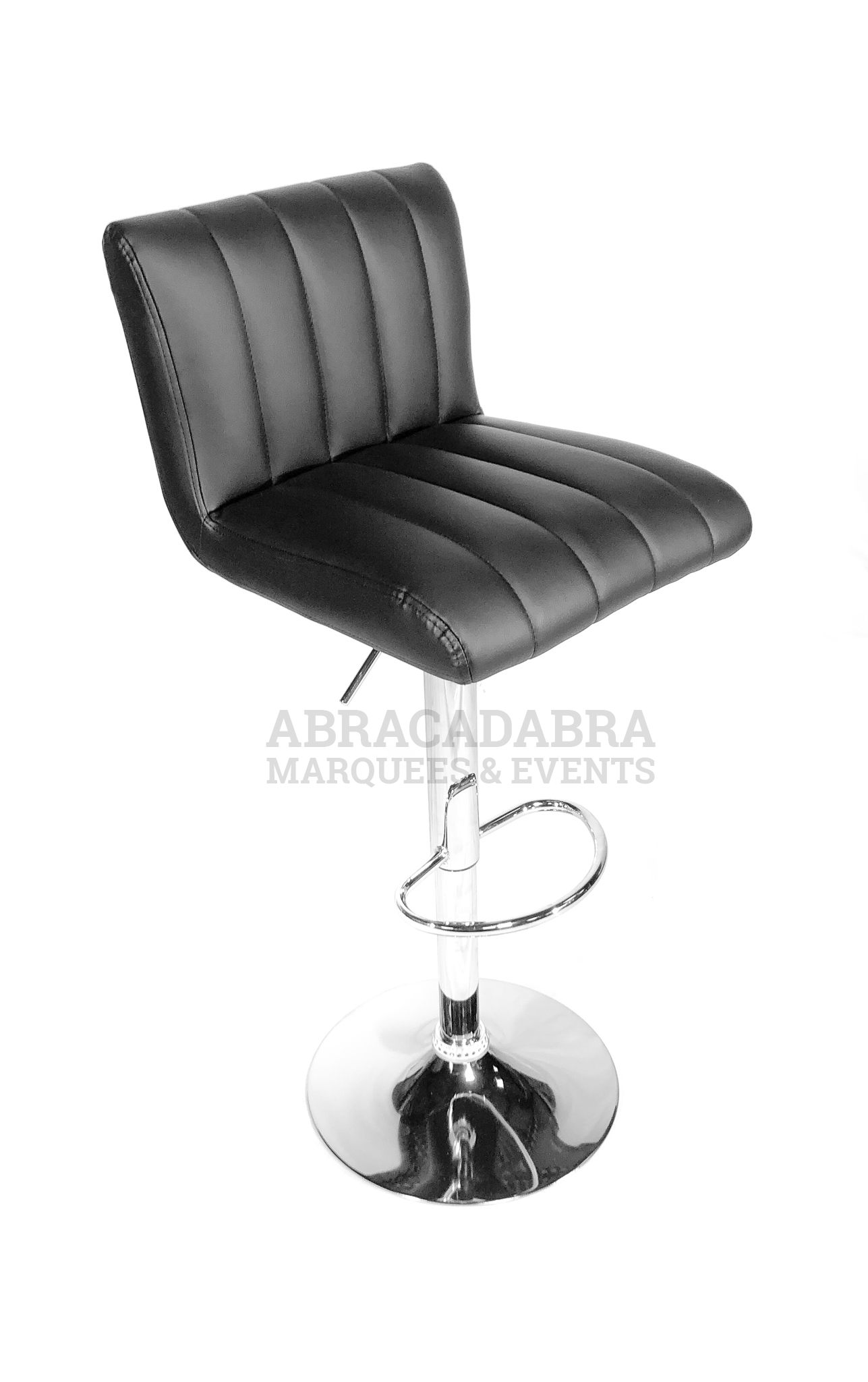 Chrome Bar Stool With Black Faux Leather Seat