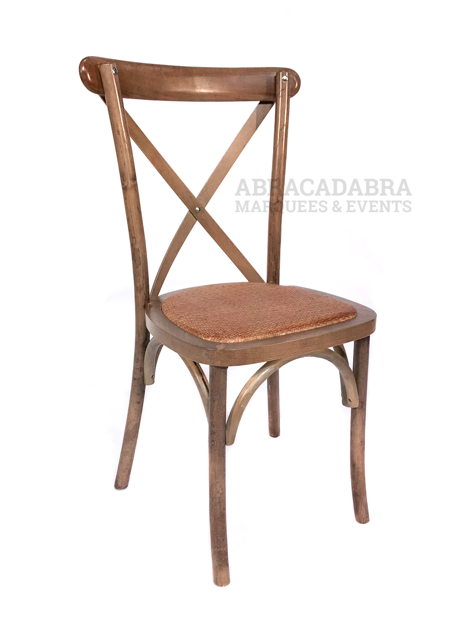 Cross Back Chair With Oak Finish & Rattan Seat